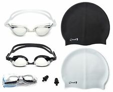 Adult Swimming Goggles Anti Fog Adjustable Strap + Swimming Caps Combo Pack