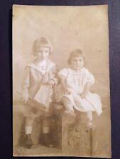 Vintage RPPC CYKO Studio Portrait 2 Children Brother Sister Sailor Suit Toy Boat