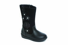 Girls Casual Boots Black Zip Up floral Bow School Fuax Leather Mid Calf