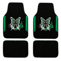 Car Floor Mats Universal Green Butterfly Handmade Embroidery Durable for SUV VAN