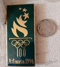 1996 Atlanta Olympic Pin Gold Logo Large 2.75 inches Dark Green