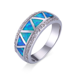 Anello Argento Sterling 925 Triangolare Di Opale di Fuoco Blu E Zirconia