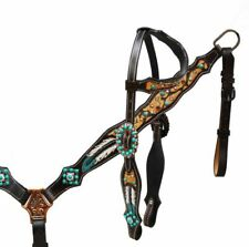 Western Saddle Horse Bling Tack Set Bridle + Breast Collar Turquoise + feathers