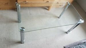 Glass Dining Table Modern Rectangular Kitchen Table Metal Legs Dining Room Clear