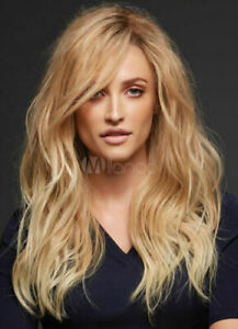 100% Human Hair New Fashion Charm Long Dark Blonde Wavy Women's Natural Full Wig