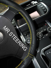BLACK LEATHER STEERING WHEEL COVER FOR JEEP PATRIOT 2011+ YELLOW DOUBLE STITCH