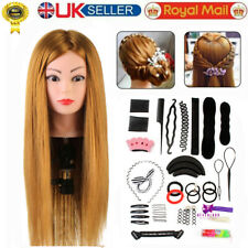 """24"""" 100% Real Human Hair Styling Training Head Hairdressing Mannequin& Braid Set"""
