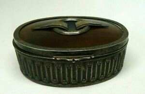 Antique Vintage Art deco Silver Plated Bakelite Jewelry Trinket Box Antique