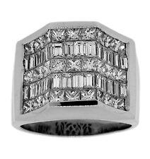 6.25ctw PRINCESS & BAGUETTE DIAMOND MEN'S RING 18K WHITE GOLD