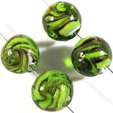 Lot 4 Perles Rondes en Verre de Murano Lampwork 12mm Vert