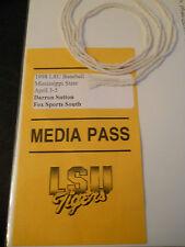 1998 LSU vs. Mississippi State Basketball Media Pass Ticket Stub (SKU2)