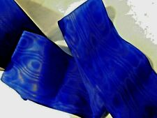 """3""""  WIDE ROYAL BLUE RAYON MOIRE' RIBBON - BY THE YARD    - Germany"""