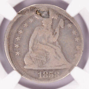 NGC 25c 1858 Seated Quarter 10% Off-Center Fine Details Plugged