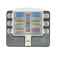 6-Way Blade Fuse Box Fuse Block Holder with Fuses for 12V 24V Car Marine