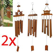 2 X APPENDERE IN Bambù Fūrin Decorativa Ornamento da Giardino Esterno Casa Mobile Nuova