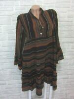 Hippie Blogger Hängerchen Kleid Tunika Volant Print 36 38 40 42 Schwarz K493