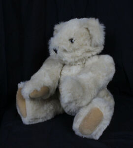 """Vermont Teddy Bear Plush Stuffed Toy Animal Brown Jointed Arms & Legs Tan 15"""""""