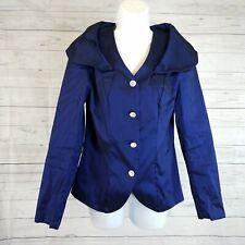 Samuel Dong Womens Jacket Sz Medium Blue Button Front Long Sleeve