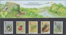 GB 1985 insectos presentación Pack 160 SG 1277 1281 sello de menta conjunto errores
