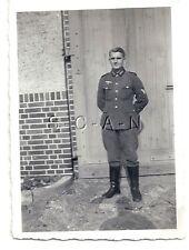 WWII German RP- Army Soldier- NCO- Uniform- Stands in Front of Wooden Door- 1940