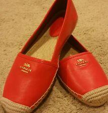 COACH RHODELLE Red Watermemon Soft Lambskin Leather Flat Shoes Sz 7B