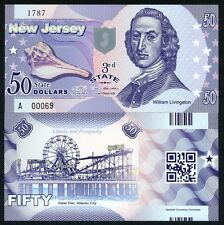 USA States, New Jersey, $50, Polymer, ND (2014), P-N/L, UNC William Livingston