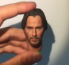 █ Custom Keanu Reeves John Wick 1/6 Head Sculpt for Hottoys Narrow Shoulder Body