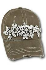 Olive & Pique NWT Glitz Bling Distressed Baseball Style Hat - Olive