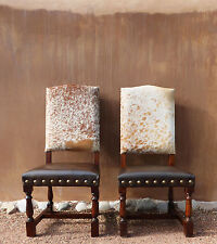 Genuine Cowhide Chair + Distressed Wood + Brass Nails $350. 6 Seat Minimum!