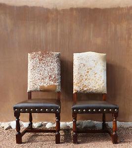 Genuine Cowhide Chair + Distressed Wood + Brass Nails $350. 6 Seat Minimum!