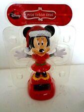 Disney Minnie Mouse Solar Bobble Head Figurine Christmas Themed Nip