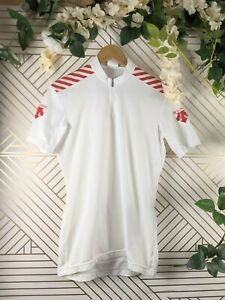 Descente Cycling white Bike Shirt Pockets Jersey women's large Made in Japan