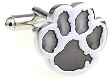 Tiger Paw Cufflinks Silver Grey Clemson Wedding Fancy Gift Box Free Ship USA