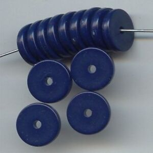 24 VINTAGE NAVY BLUE ACRYLIC 3x14mm. DISC SPACER BEAD 6139