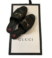 Gucci Black Leather Horsebit Slide Sandals