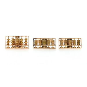 Abacus Lapel Pin & Cufflinks Set -14k Gold Counting Frame Mathematics Men's Gift