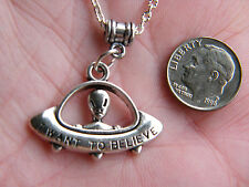 """ALIEN Necklace SpaceShip UFO Saucer Charm I want to BELIEVE 20"""" Silver Chain NEW"""