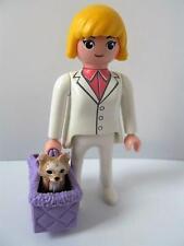 Playmobil lady with dog & carry basket - dollshouse pet & figure NEW