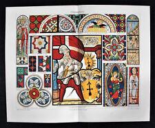 1902 Originale Cromolitografia.VETRATE ARTISTICHE..Glasmalerei Tipologia.Meyers