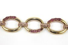 Oval Cut Pink Tourmaline & Diamond Tennis Link Bracelet 18K Rose Gold 9.80Ct