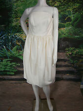 FANCY BRIDAL NY 12 WEDDING GOWN DRESS SILK SHORT STRAPLESS IVORY VINTAGE INSPIRE