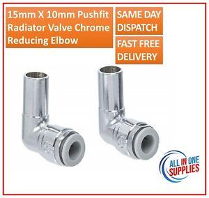 15mm X 10mm Pushfit Radiator Valve Chrome Reducing Speedfit Stem Elbow Pair