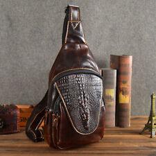 Real Leather Men Messenger Chest Bag Crocodile Pattern Sling Shoulder Back Pack
