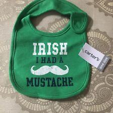 Carters Baby Bib Green Irish I Had A Mustache Unisex St. Patrick's Day