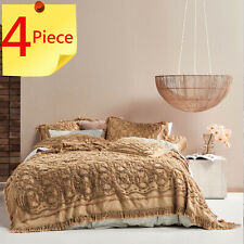 Linen House Biscotti Somers Bed Cover | Detailed Cotton Chenille | 4 Piece Set