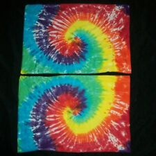 Pair of 2 Tie Dye Pillowcases Rainbow Spiral Standard Bedding 100% Cotton