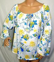 Arabella Women Plus Size 2x 3x Floral Yellow Blue White Tunic Top Blouse Shirt