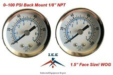 "2 pc 1/8"" NPT Air Pressure Gauge 0-100 PSI Back Mount 1.5"" Face"