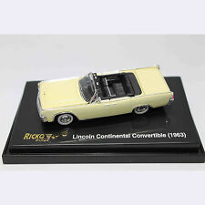 HO 1:87 RICKO 38322 1963 Ford Lincoln Continental Convertible Sedan - Yellow