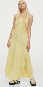 NWT H&M CONSCIOUS Light Yellow Creped Maxi Dress Gorgeous Flowy Style size M